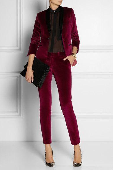 Are Pants the New  Outfit du Jour?, women's pant suit, women's satin-trimmed burgundy velvet tuxedo pants and blazer