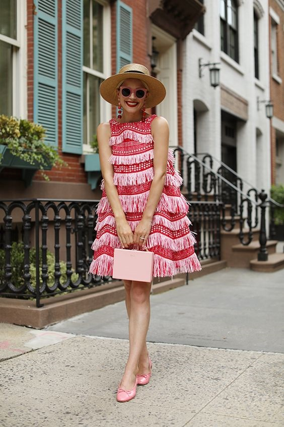 Galentine's Day Gifts & Glam, cocktails with the girls, Atlantic Pacific pink and red fringe Angel Chen dress