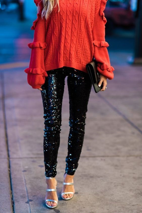 Galentine's Day Gifts & Glam, Galentine's day outfit, sequin jogger pants and red sweater