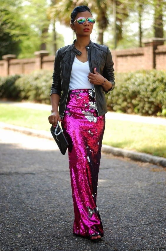 Galentine's Day Gifts & Glam, Galentine's outfit, Valentine's day outfit. pink and red sequin maxi skirt, white top and black leather jacket