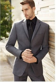 Tricks to Make a Cheaper Suit Look More Expensive, monochromatic suiting, black button down and gray suit