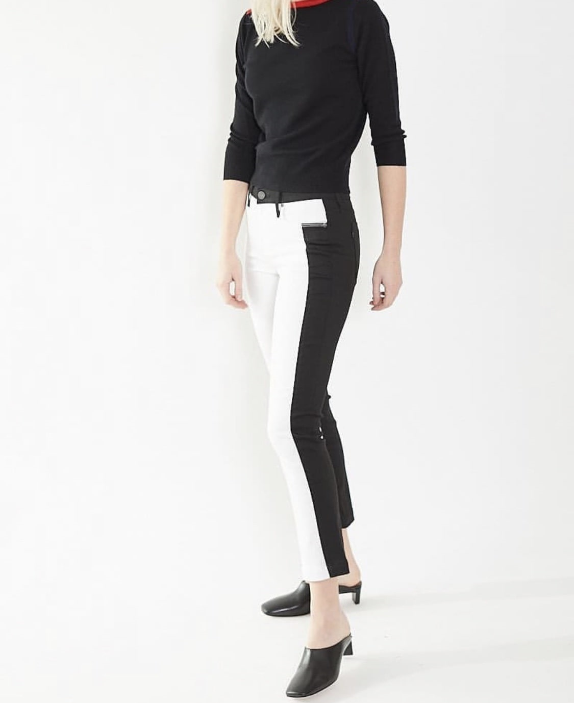 Spring Denim Must-Haves, two tone jeans, two tone white and black jeans with black sweater and black mules