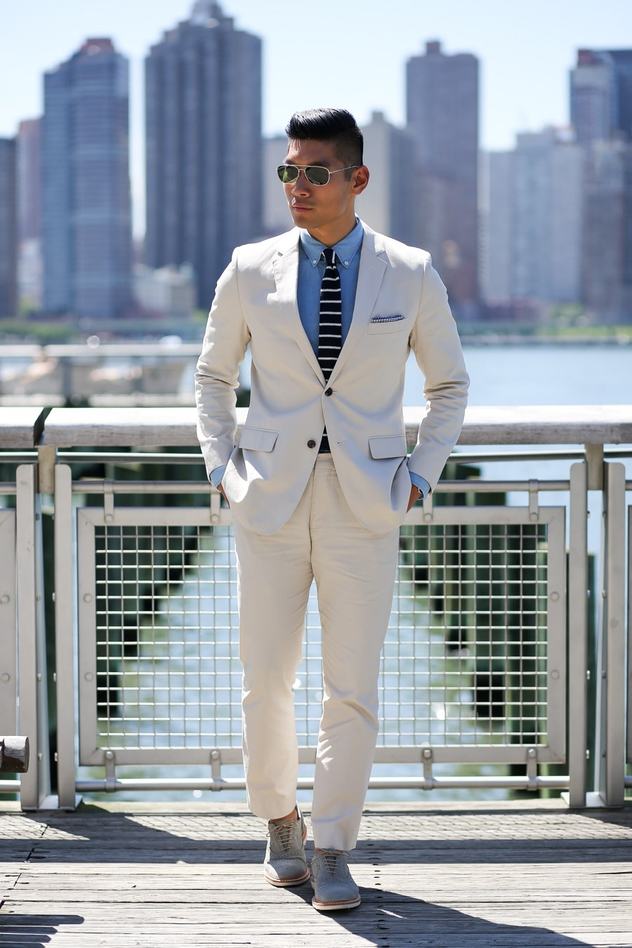 Spring Into Style: Stylish Spring Shoes, men's knit wingtips with tan suit