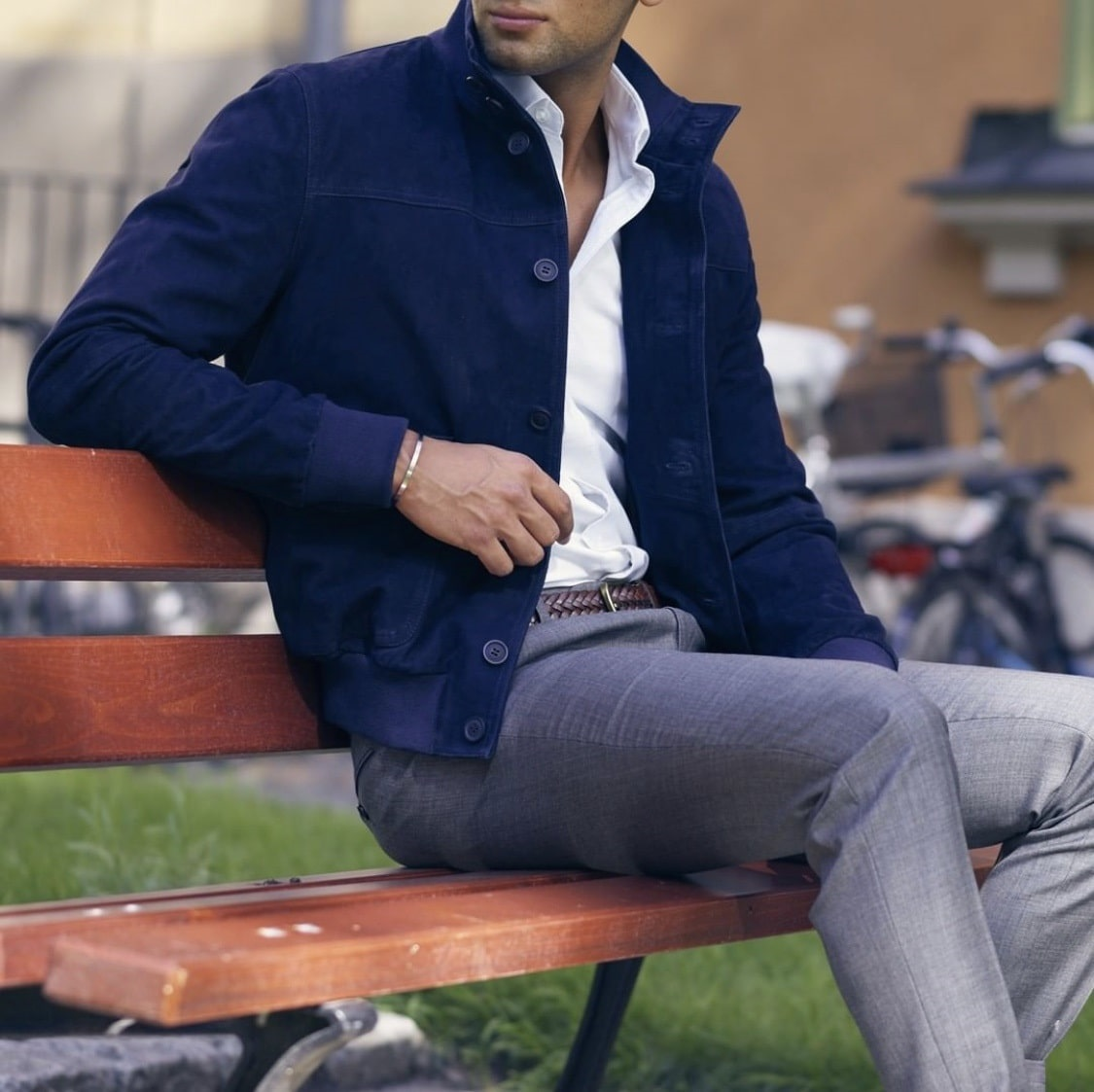4 Easy Outfit Ideas to Transition to Spring-Men's, suede jacket and pants, Grand Frank blue suede jacket and gray pants