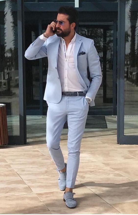 men'sEaster outfit, men's pastel suit, men's light blue suit
