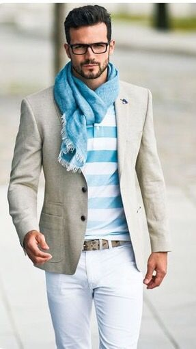men's easter outfit, white jeans, tan blazer, pastel striped sweater