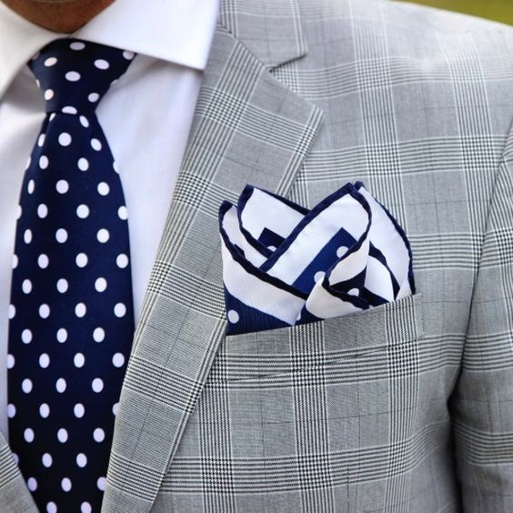 Men's Spring Suit Accessories, polka dot pocket square and tie, glen plaid gray suit with navy polka dot tie