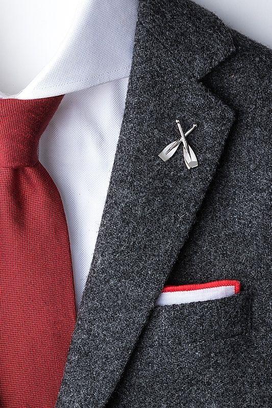 Men's Spring Suit Accessories, unique lapel pins, rowing oars lapel pin