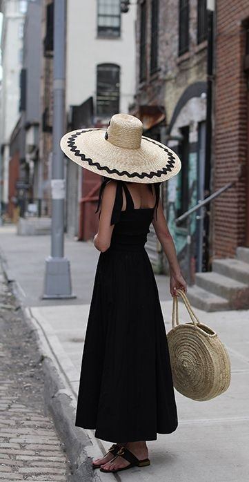 The Best Trends in Spring Summer Hats, black sundress and chevron print straw hat