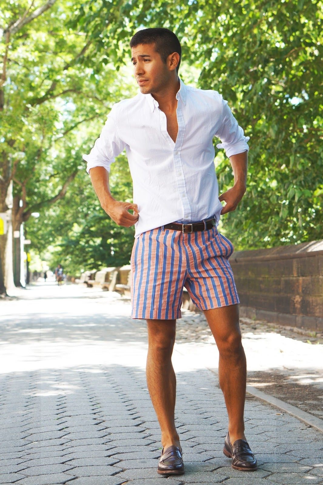 Must-Pack Travel Essentials for a Stylish Getaway, men's striped shorts, men's print shorts and white button-down