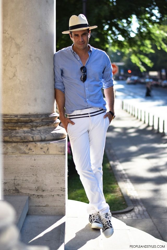 travel essentials for a stylish getaway, men's summer outfit blue shirt and white pants, panama hat, sunglasses