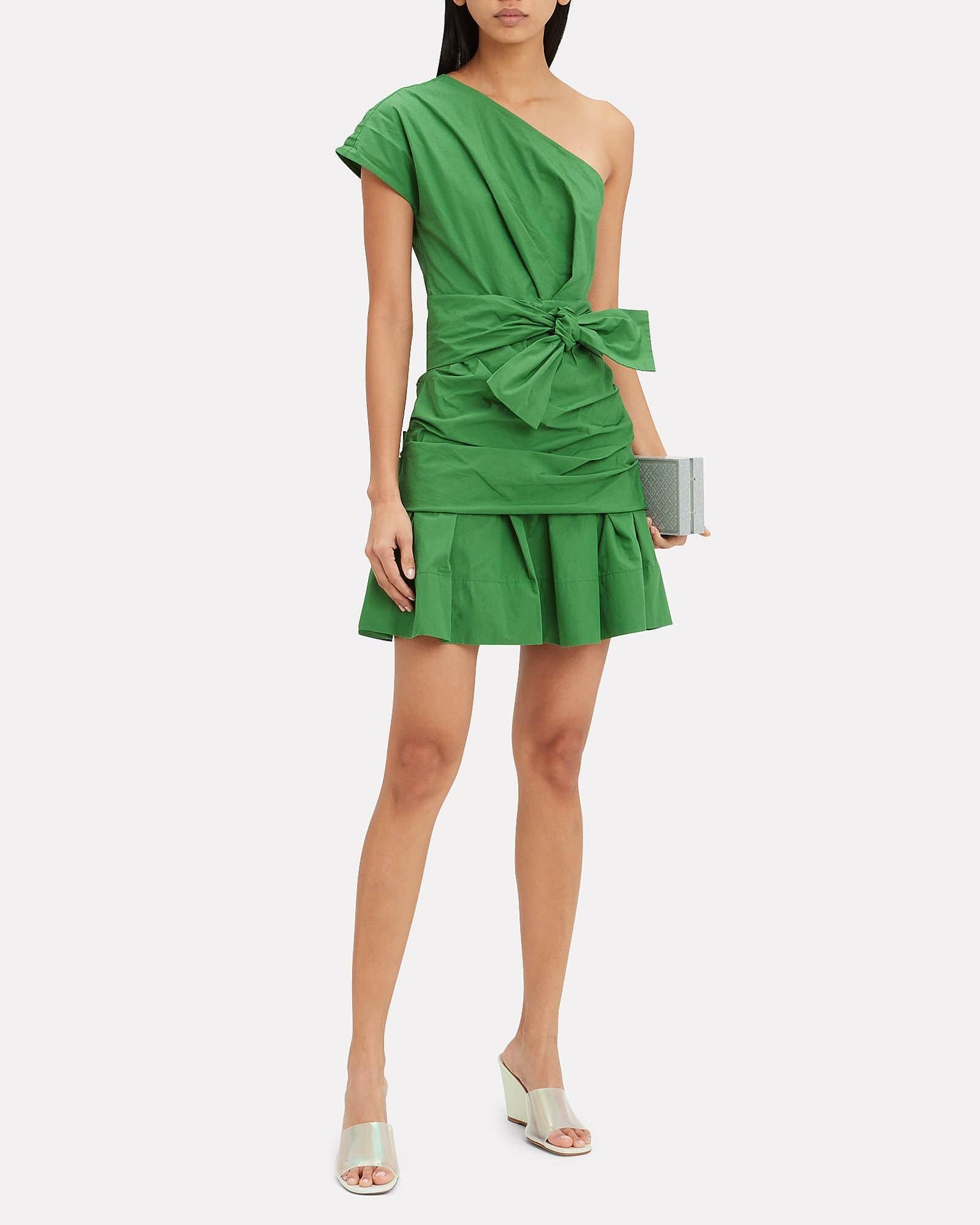 Beat the Heat in these Summer Essentials, cotton dress, Derek Lam 10 Crosby green one shoulder cotton dress