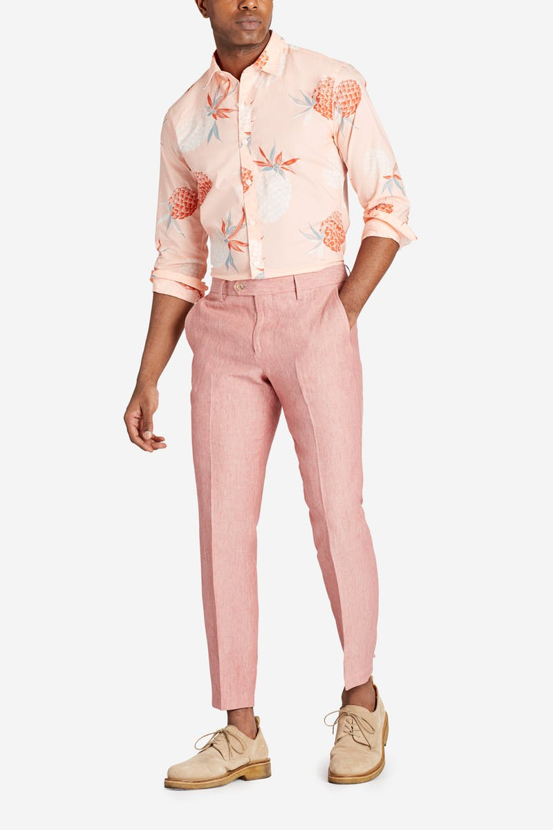 Beat the Heat in these Summer Essentials, men's linen pants and cotton blend print button-down shirt