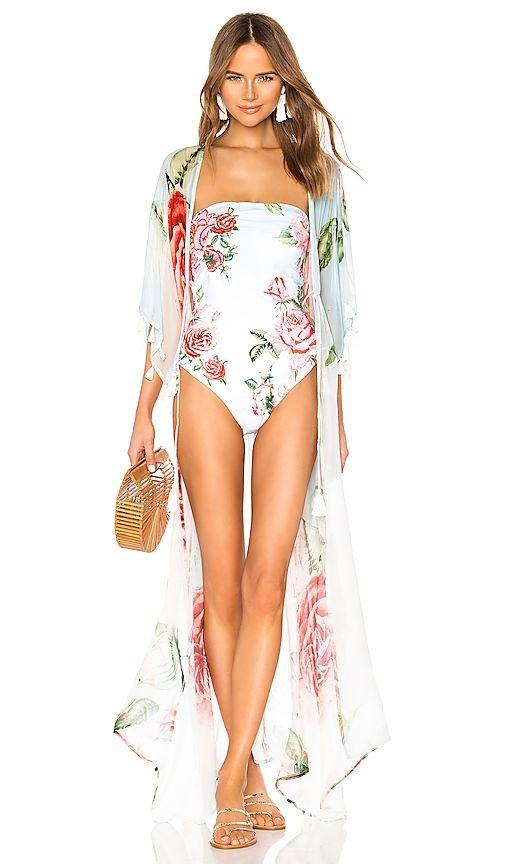 How to Make Bohemian Style Chic and Modern, caftans and kimonos, Aqua Bendita floral kimono