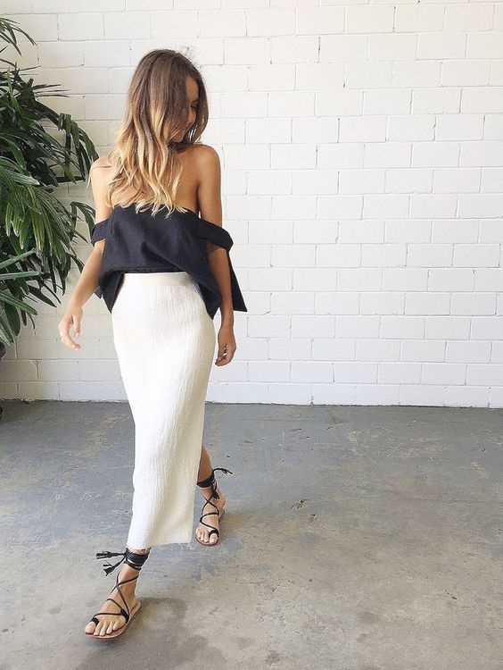 Launch into Labor Day…Stylish Looks for a Weekend Getaway, labor day weekend outfit, white skirt and black top