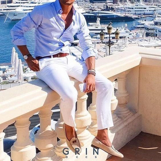 Launch into Labor Day…Stylish Looks for a Weekend Getaway, men's labor day weekend outfit, white chinos and chambray button down