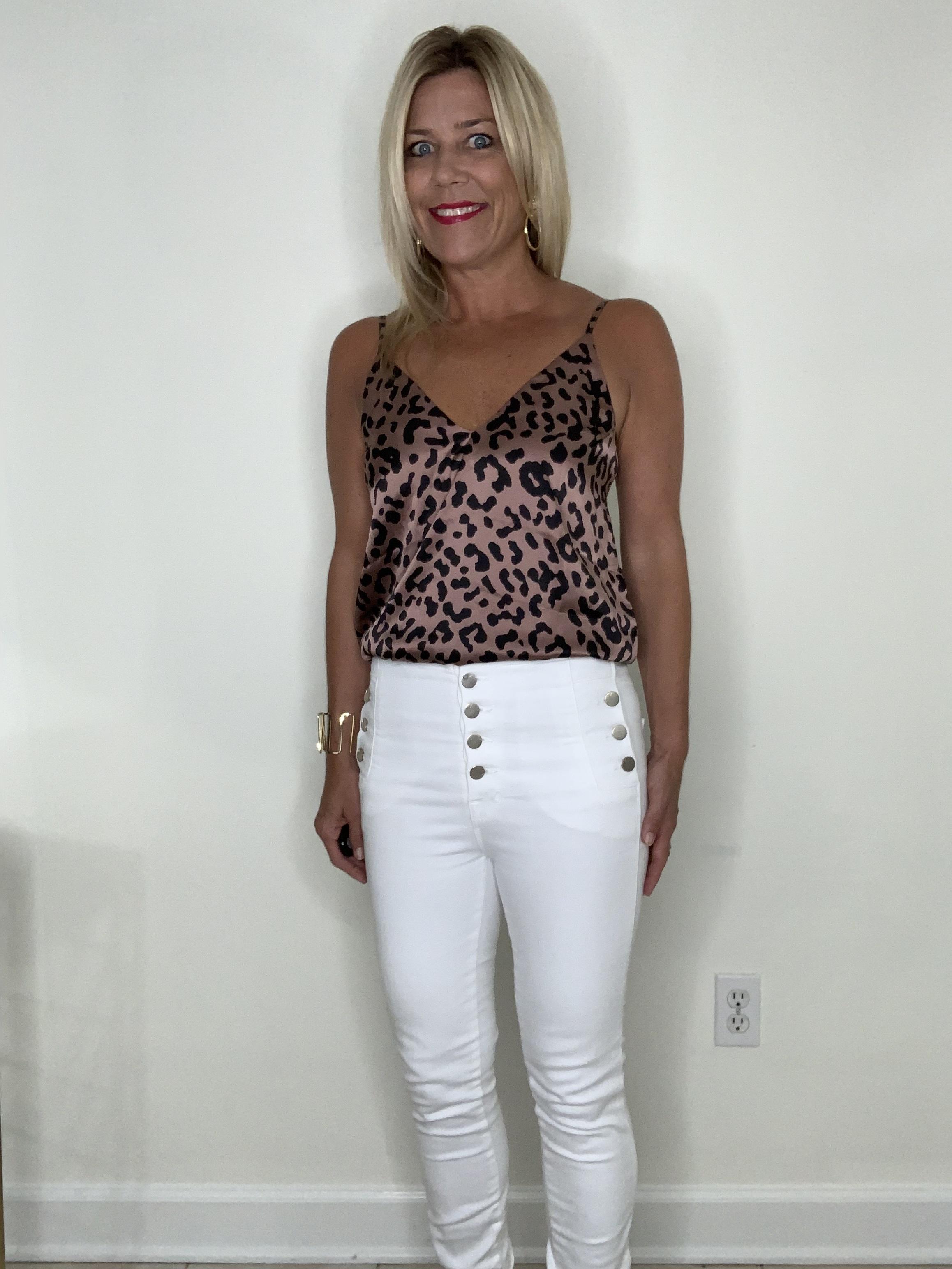Ease Your Wardrobe Into Fall…Wear Now, Wear Later, women's silk leopard tank top, white jeans