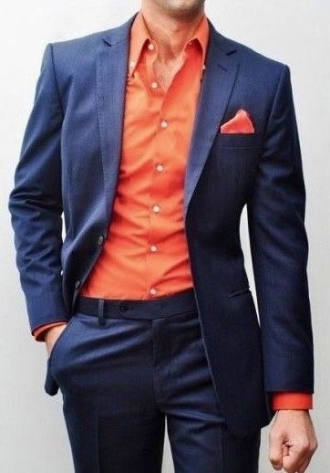 Colorwheel for Menswear…Finding Your Best Colors, complementary colors, men's complementary color outfit blue suit with orange shirt