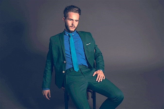 Colorwheel for Menswear…Finding Your Best Colors, men's analogous colors, men's green suit and blue shirt analogous outfit