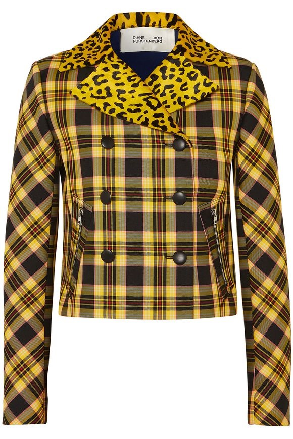 leopard print, leopard fashion, color leopard print, DIANE VON FURSTENBERG yellow plaid double breasted jacket leopard trim