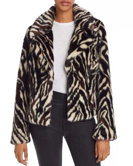 Get an Edge Up on Fall Outerwear, fall 2019 jacket trends, animal print jackets, 7 For All Mankind zebra fur jacket