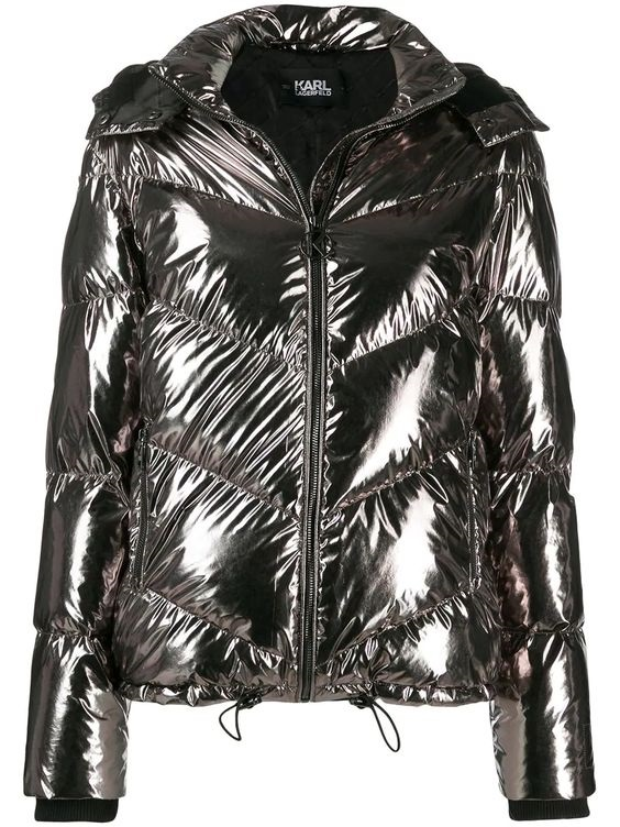 Get an Edge Up on Fall Outerwear, women's fall jacket trends 2019, metallic puffer, KARL LAGERFELD metallic puffer jacket