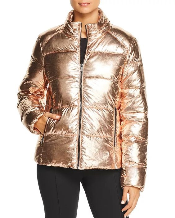 Get an Edge Up on Fall Outerwear, women's fall jacket trends 2019, metallic puffer coat, Marc New York metallic puffer copper