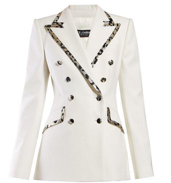 Leopard Print fashion, leopard print pieces, Dolce & Gabbana leopard-print trim double-breasted crepe blazer