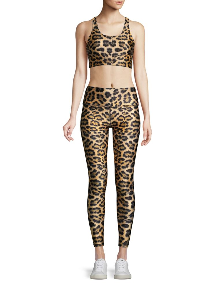 Leopard print, leopard fashion, leopard workout gear, Terez leopard golad high-rise leggings