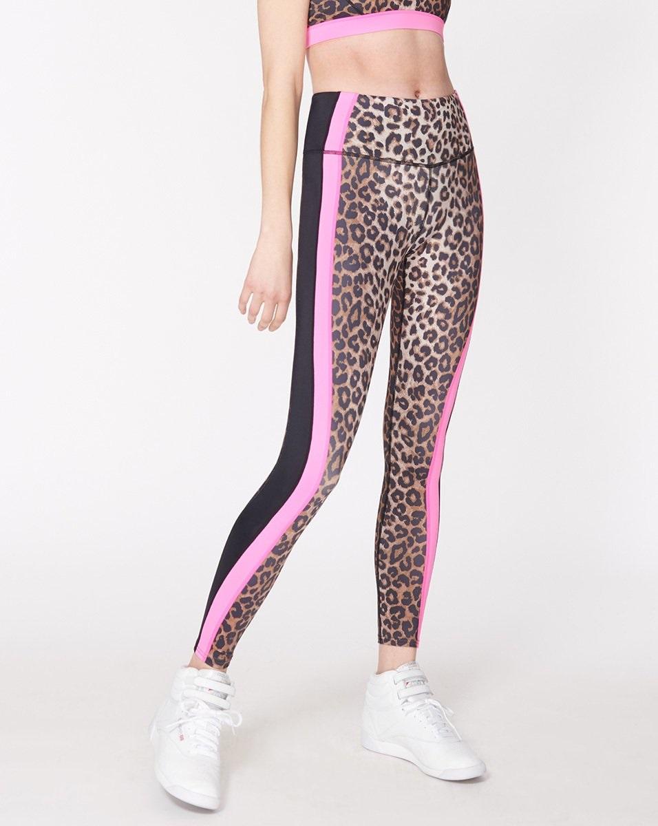 Leopard print, leopard fashion, leopard workout gear, VB x Bandier Rhonda leopard leggings with pink stripe
