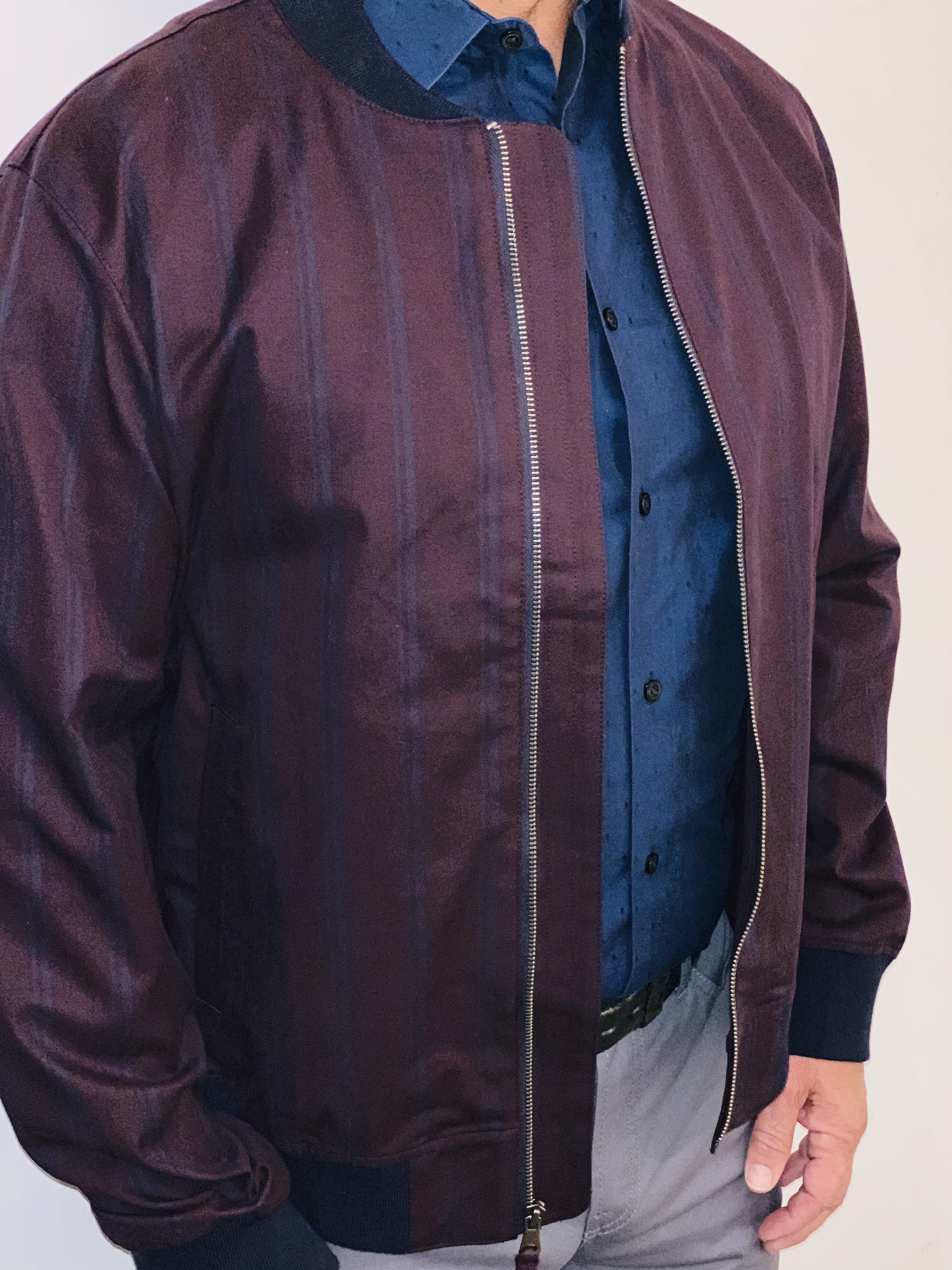 Get an Edge Up on Fall Outerwear, men's fall jacket trends, bomber jacket, striped bomber