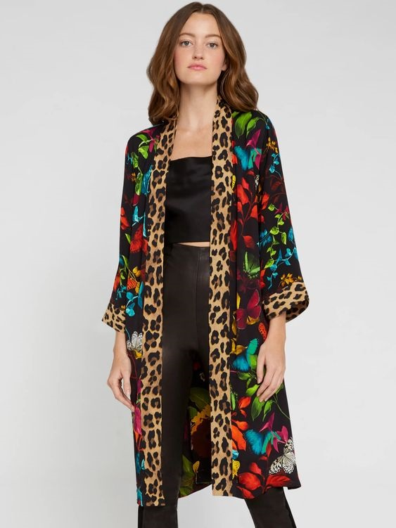 leopard print, leopard fashion, Alice & Olivia AVILA REVERSIBLE BUTTERFLY KIMONO with leopard print