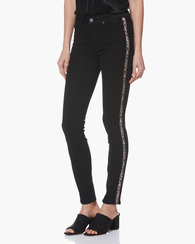 leopard print, leopard jeans, Paige jeans Hoxton Ankle - Black Shadow with Leopard Tuxedo Stripe