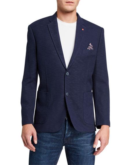 How to Layer for Fall, English Laundry slub-knit blazer jacket indigo
