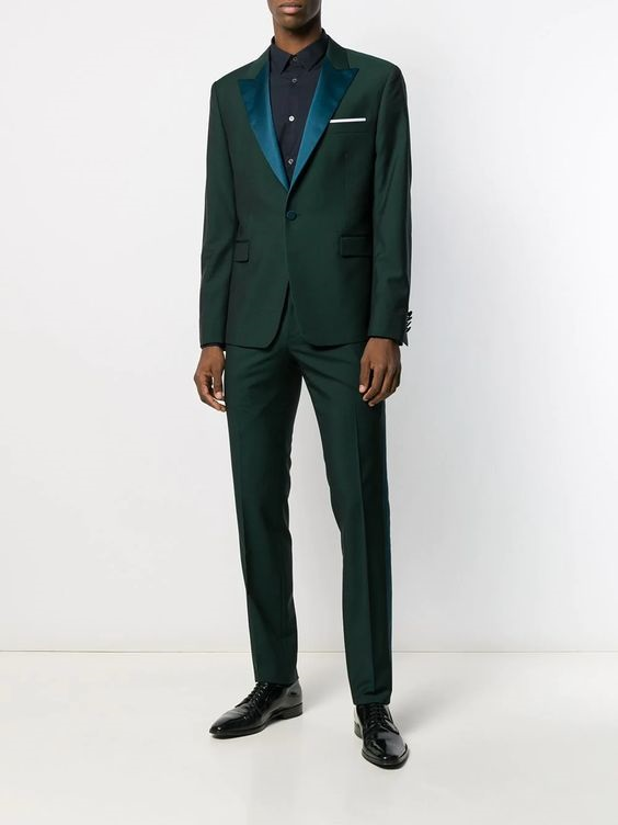 Jewel Tones for the Holidays, jewel tone suit, men's green suit, PAUL SMITH contrast side green suit