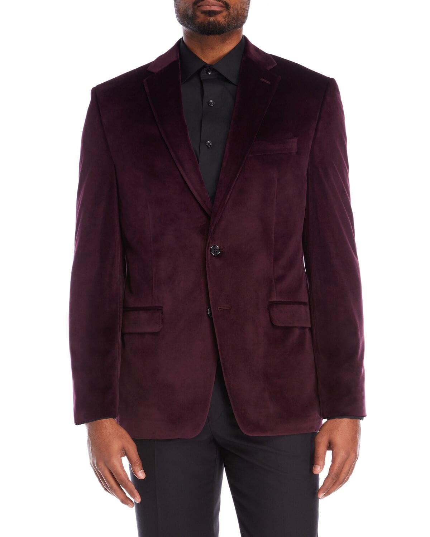 Jewel Tones for the Holidays, men's jewel tone blazer, LAUREN RALPH LAUREN burgundy velvet sports coat
