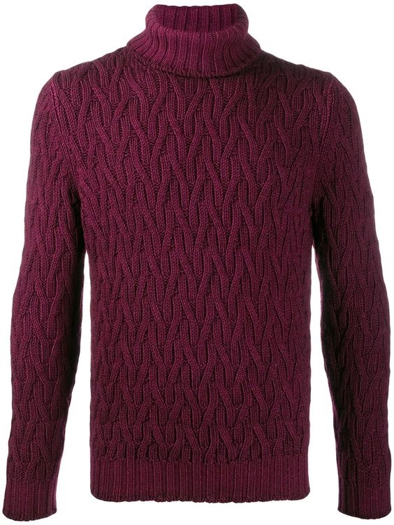 Jewel Tones for the Holidays, men's jewel tone sweater, LA FILERIA FOR D'ANIELLO slim-fit cable knit turtleneck sweater burgundy purple