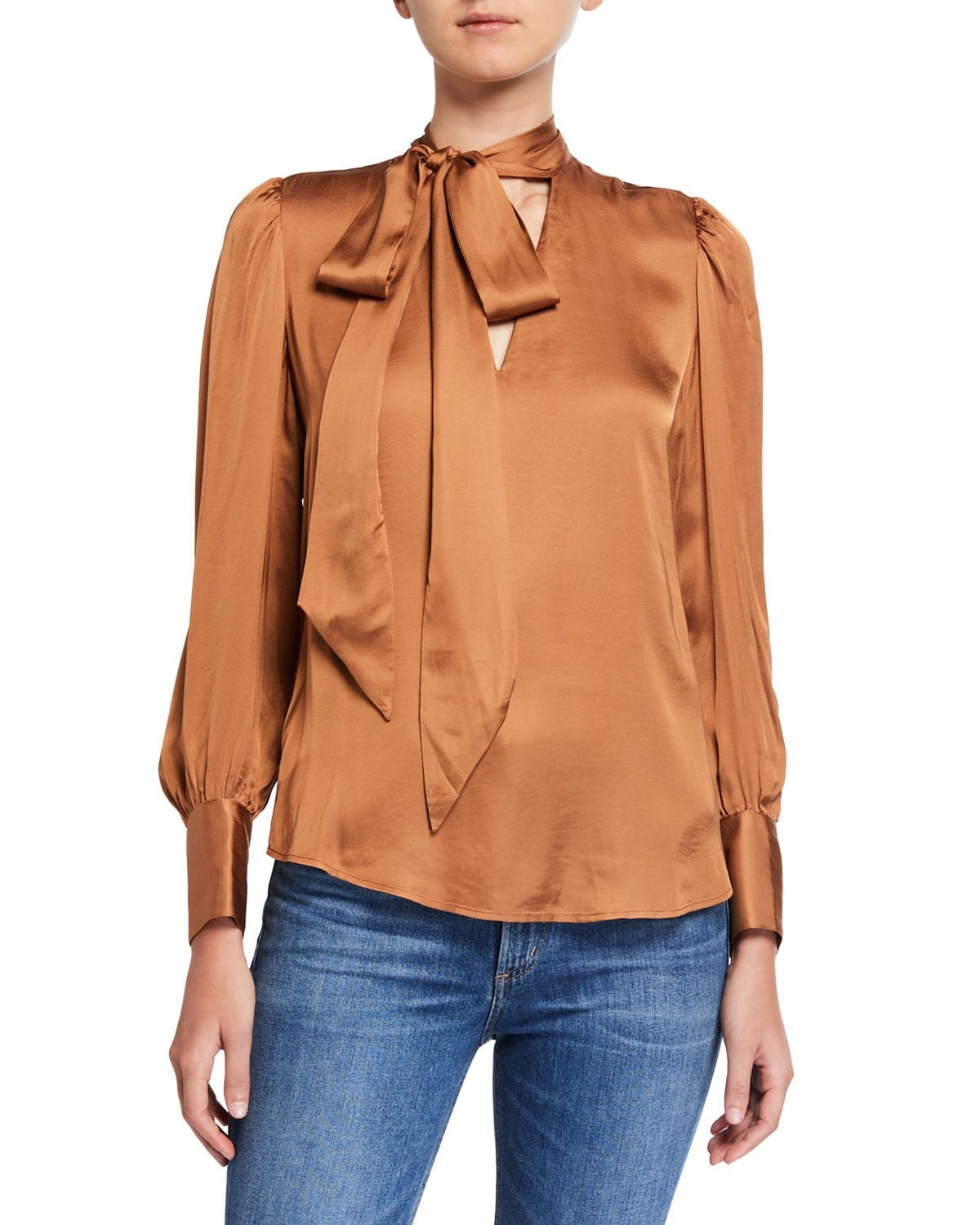 Tonal Dressing, 7 for all mankind satin tie neck blouse in camel brown
