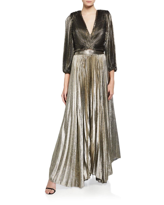 Tonal Dressing, Alice + Olivia Katz sunburst pleated gold skirt