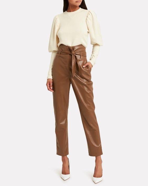 Tonal Dressing, NANUSHKA Ethan Tailored Vegan Leather waist Pants in camel