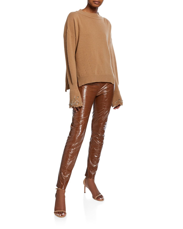 Tonal Dressing, PINKO faux-croc leather leggings in brown