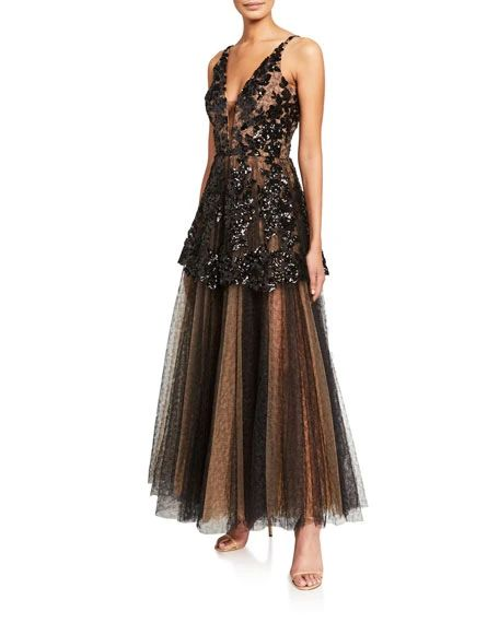 5 Trendy New Years Eve Outfits for Women and Men, Dress The Population Rachelle sequin embroidered cami gown with tulle skirt, black tulle dress, black tulle gown