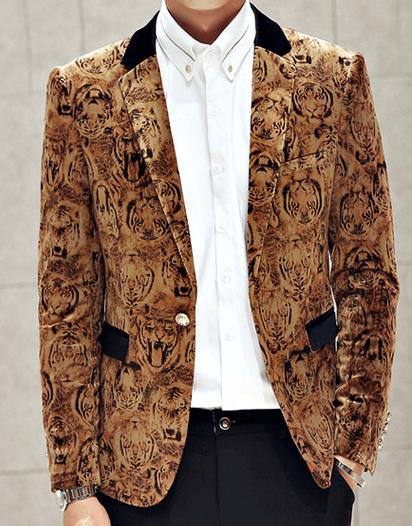 5 Trendy New Years Eve Outfits for Women and Men, men's print dinner jacket, VELVET TAN TIGER MENS BLAZER