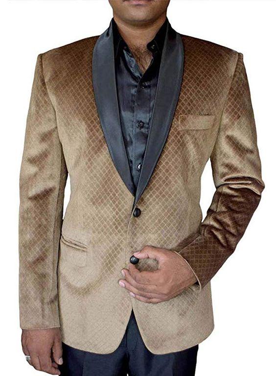 5 Trendy New Years Eve Outfits for Women and Men, men's print sport coat, tan print sport coat, INMONARCH Mens Slim fit Casual Brown Velvet Blazer Sport Jacket Coat