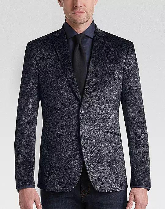 5 Trendy New Years Eve Outfits for Women and Men, men's velvet print sport coat, Awearness Kenneth Cole Gray Paisley Slim Fit Velvet Dinner Jacket