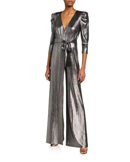 5 Trendy New Years Eve Outfits for Women and Men, metallic jumpsuit and dress, Retrofete monroe metallic silver 3/4 sleeve jumpsuit