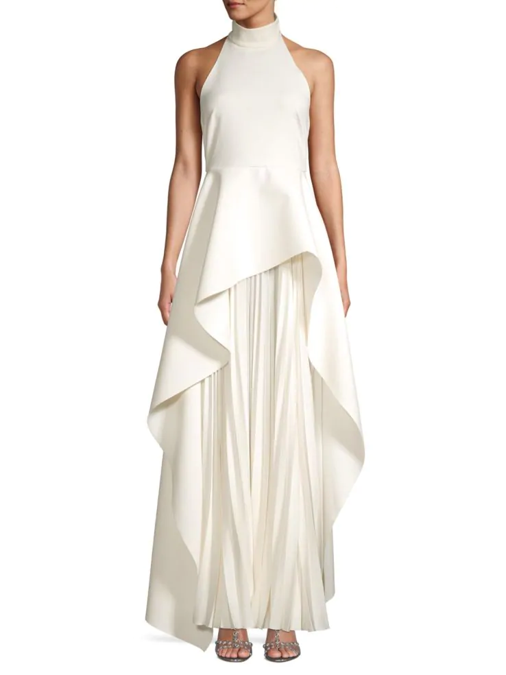 Stylish Looks for Holiday Travel, holiday resort outfit, Solace London lavina layered high-low pleated chiffon cream color maxi dress