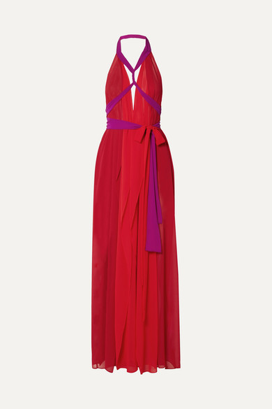 Stylish Looks for Holiday Travel, women's holiday resort outfit, MARIKA VERA Cutout chiffon halterneck red and purple maxi dress