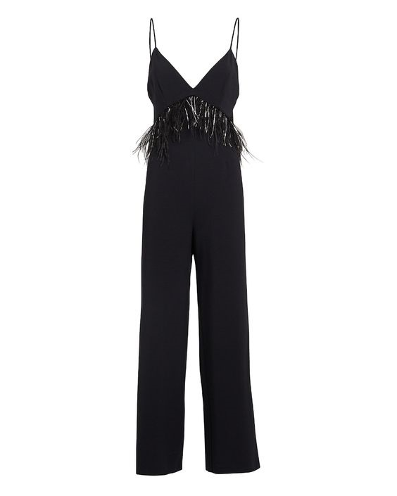 What to Wear this Holiday Season, feather outfit, feather jumpsuit, Saylor Serena feather trim jumpsuit