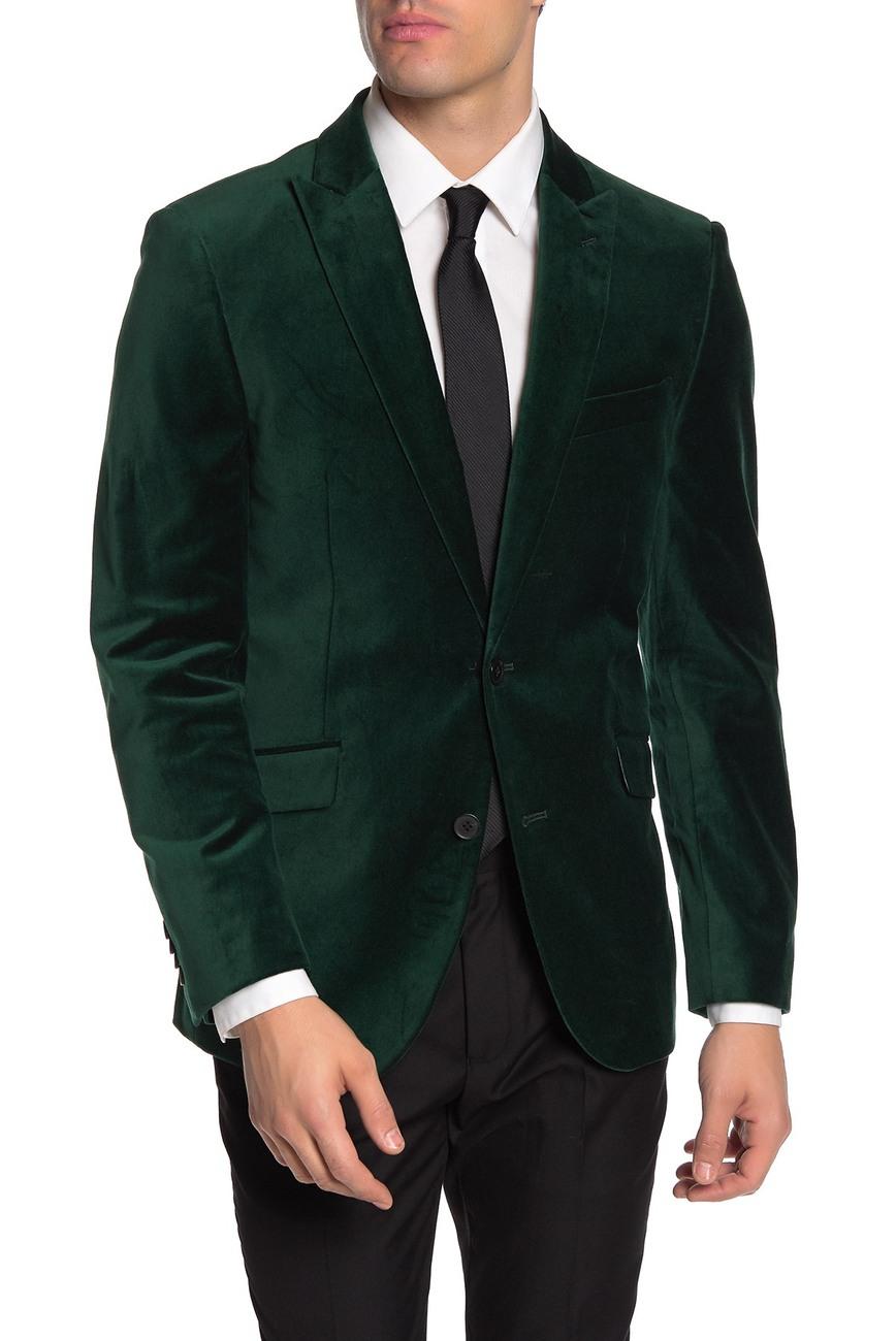 What to Wear this Holiday Season, men's holiday outfits, men's velvet blazer, SAVILE ROW CO dark green velvet blazer